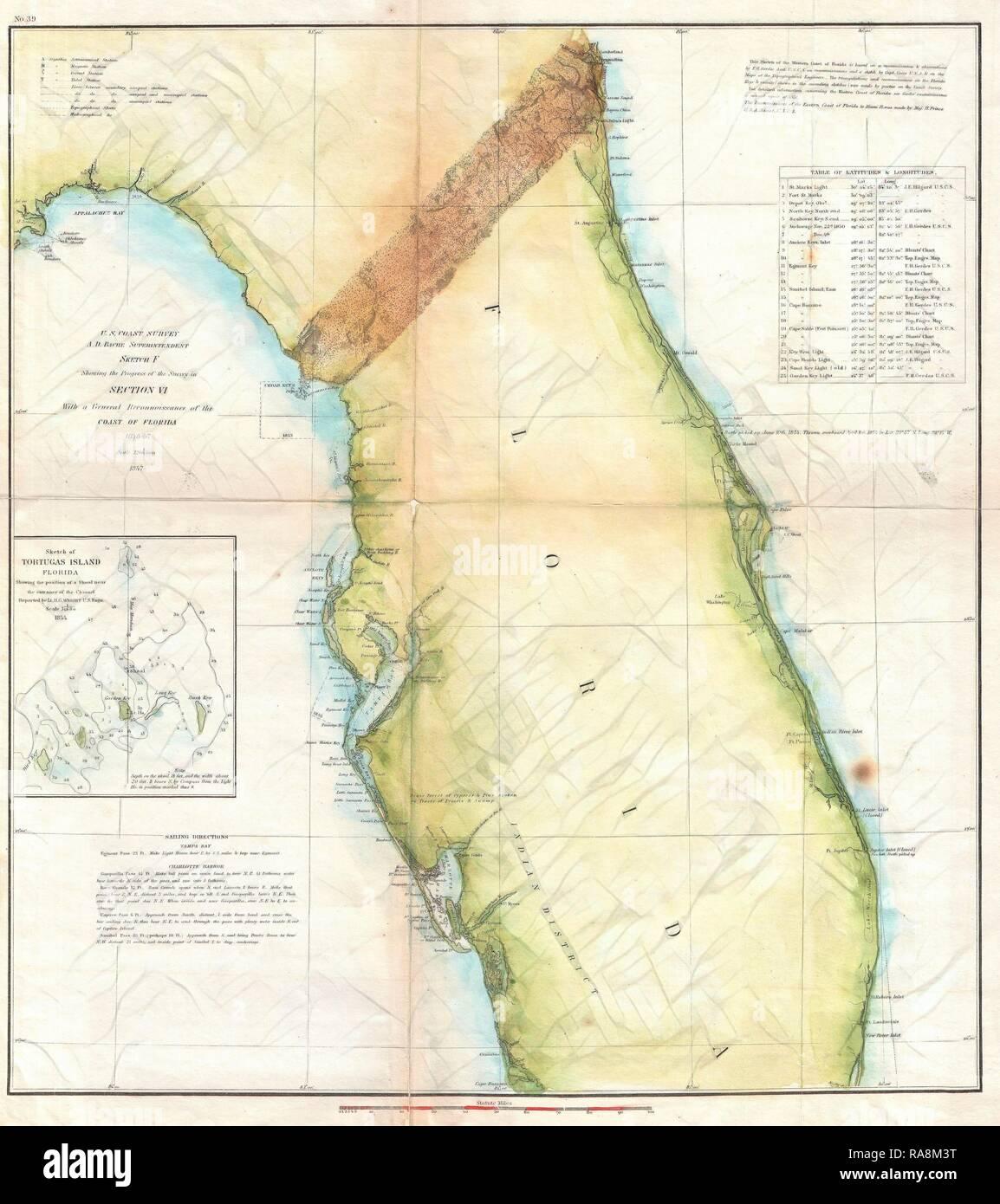 1857, U.S. Coast Survey Map of Florida. Reimagined by Gibon ...