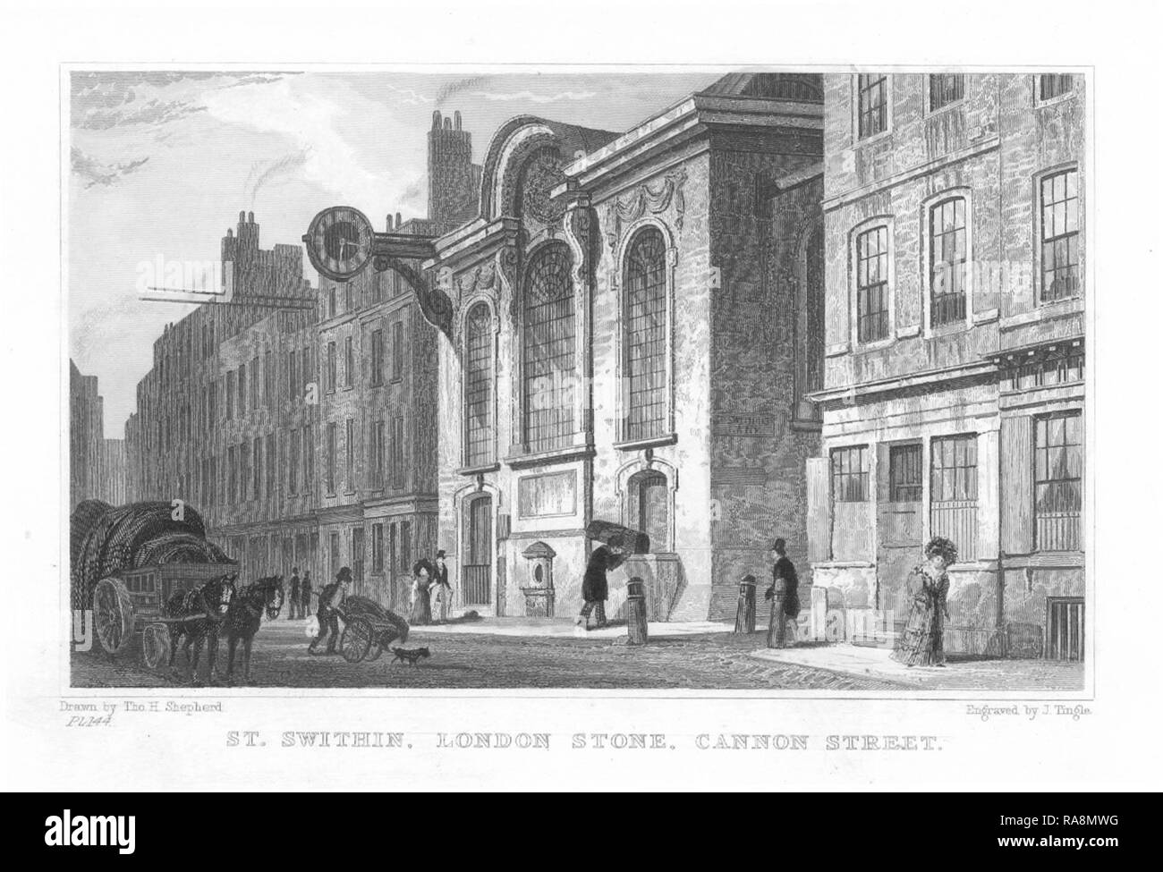 The south front of Wren's church of St Swithin London Stone, in an engraving after T. H. Shepherd, 1831. Stock Photo