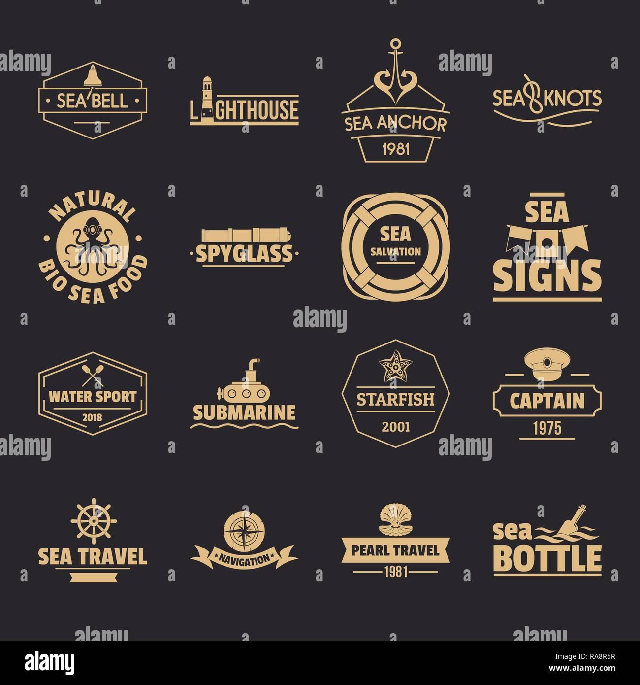 Nautical sea logo icons set, simple style - Stock Image