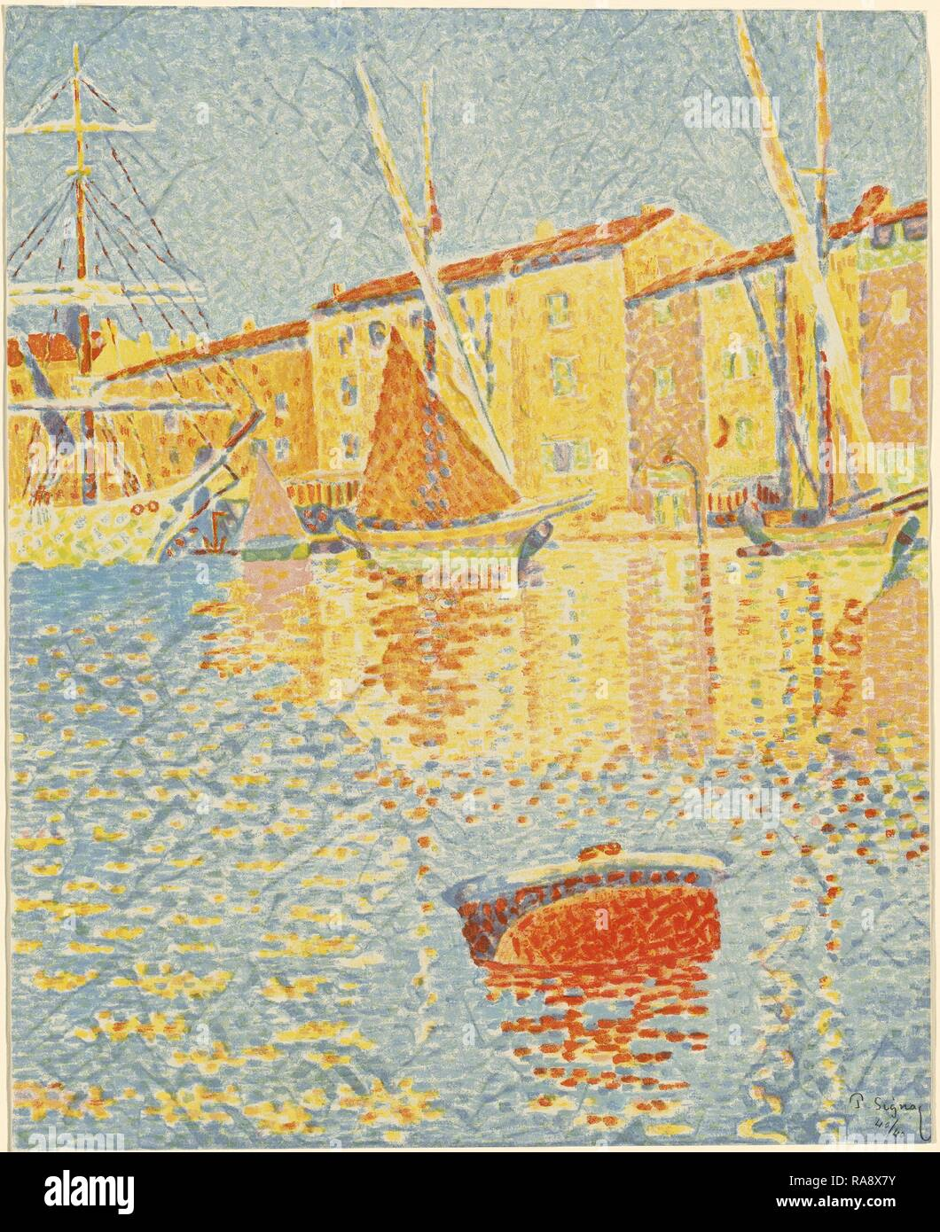 Paul Signac (French, 1863 - 1935), The Buoy (La bouée), 1894, 6-color lithograph. Reimagined by Gibon. Classic art reimagined Stock Photo