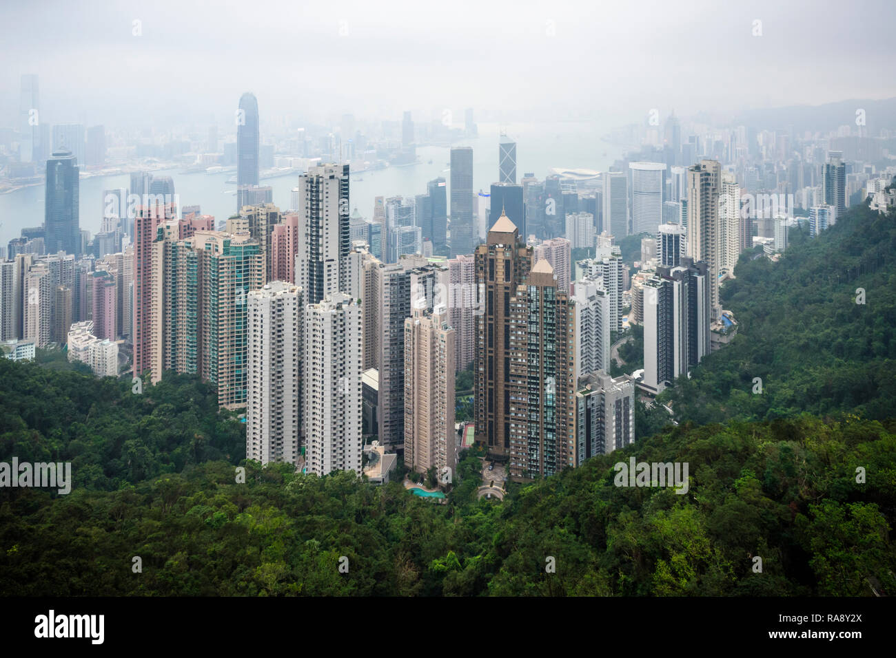 Restricted view of Hong Kong due to haze from air pollution - Stock Image
