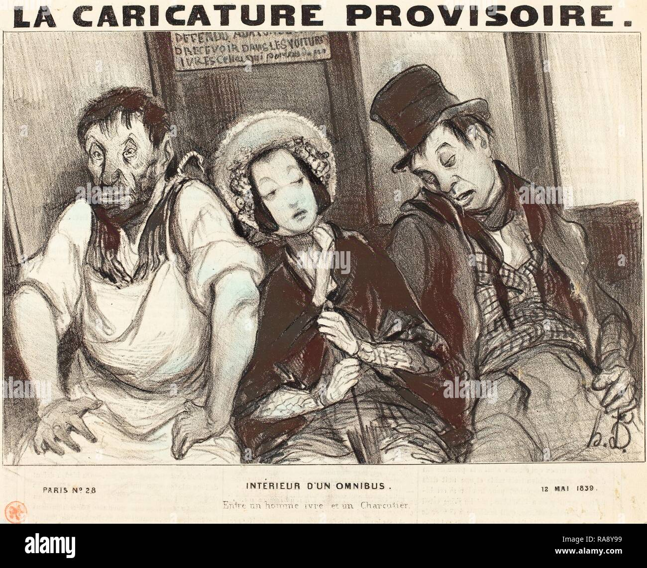 Honoré Daumier (French, 1808 - 1879), Intérieur d'un omnibus, 1839, lithograph on newsprint. Reimagined - Stock Image