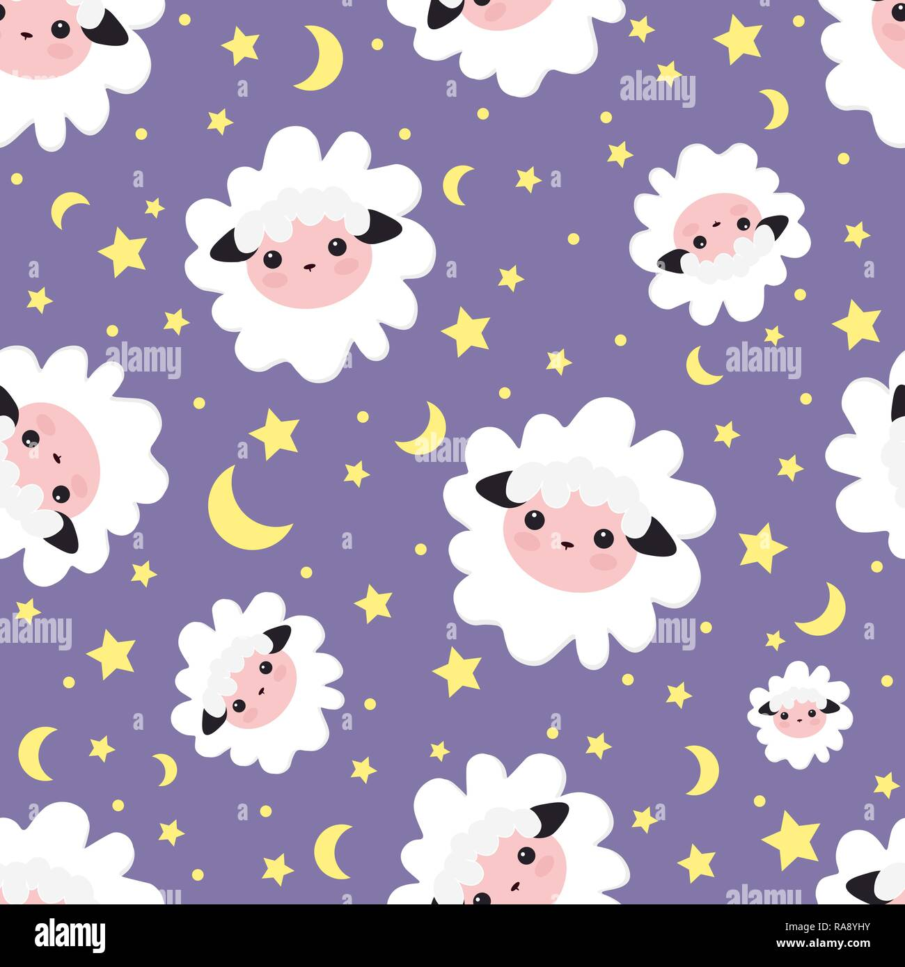 Sleeping dreams pattern. vector illustration seamless sheep animal. pattern for girls with cute sheep in the starry sky . Textile design, wallpapers,  - Stock Vector