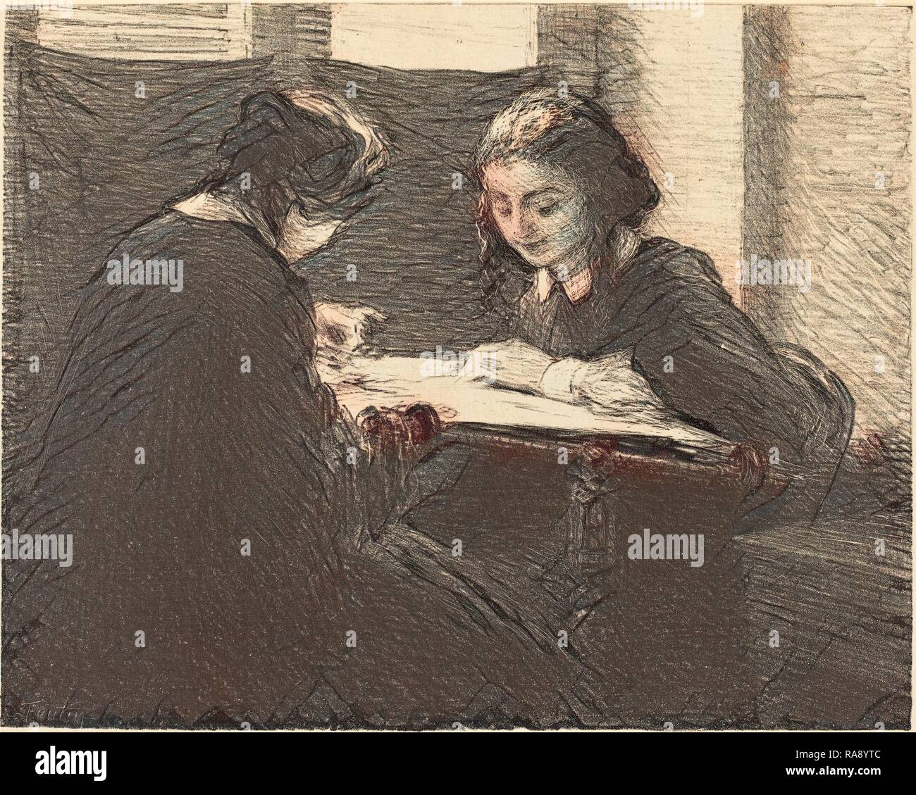 Henri Fantin-Latour (French, 1836 - 1904), The Embroiderers (Les brodeuses), 1898, chine colle lithograph. Reimagined - Stock Image