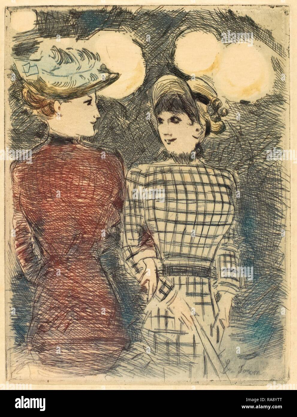 Jean-Louis Forain (French, 1852 - 1931), To Bullier's, c. 1876, color etching. Reimagined by Gibon. Classic art with reimagined - Stock Image