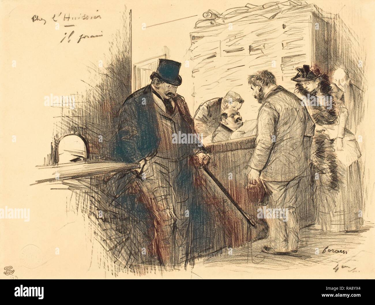 Jean-Louis Forain (French, 1852 - 1931), At the Bailiff's, c. 1891, lithograph. Reimagined by Gibon. Classic art with reimagined - Stock Image