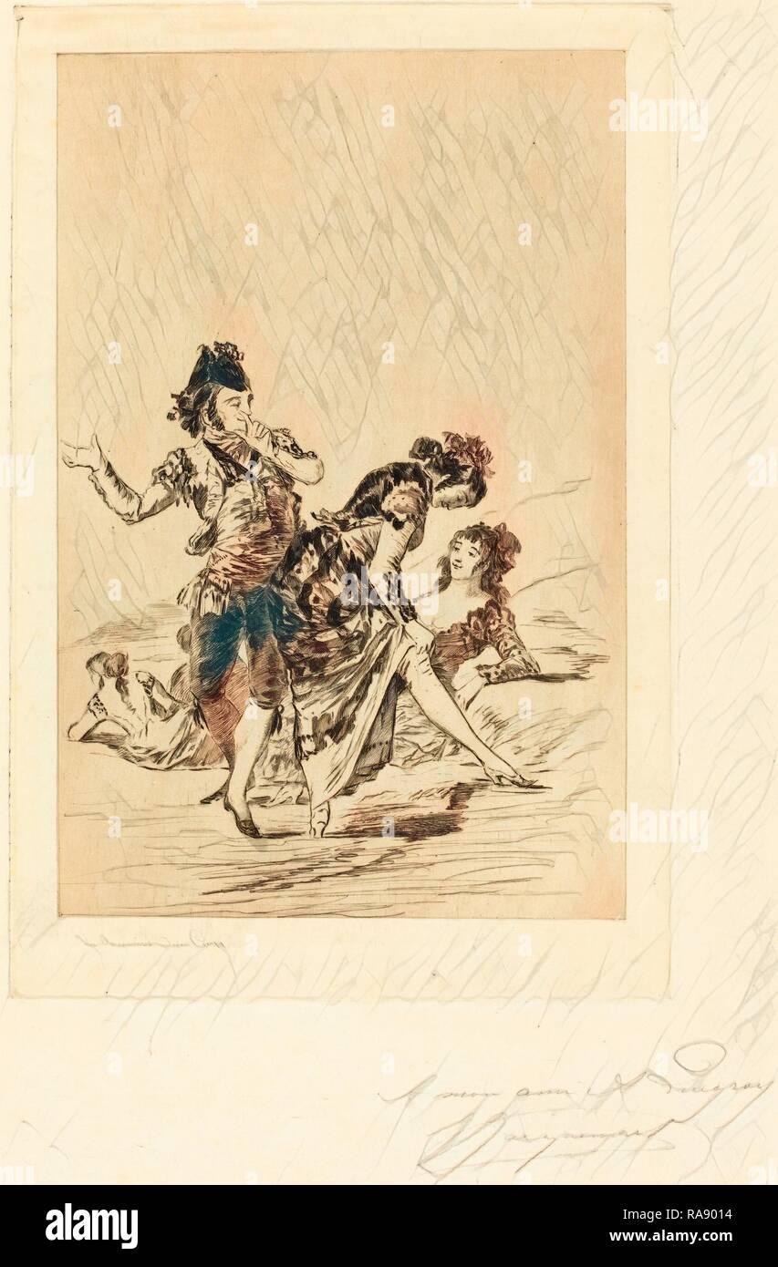 Jules-Ferdinand Jacquemart after Francisco de Goya (French, 1837 - 1880), Spanish Scene (Scène espagnole), 1863 reimagined - Stock Image