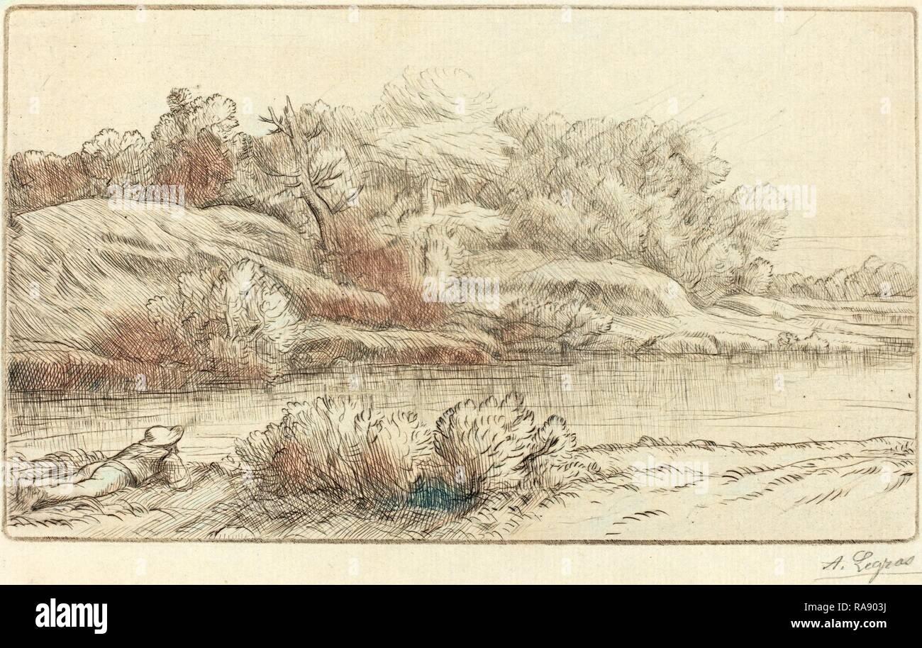 Alphonse Legros, Banks of the Venelle (Bord de la Venelle), French, 1837 - 1911, drypoint. Reimagined - Stock Image