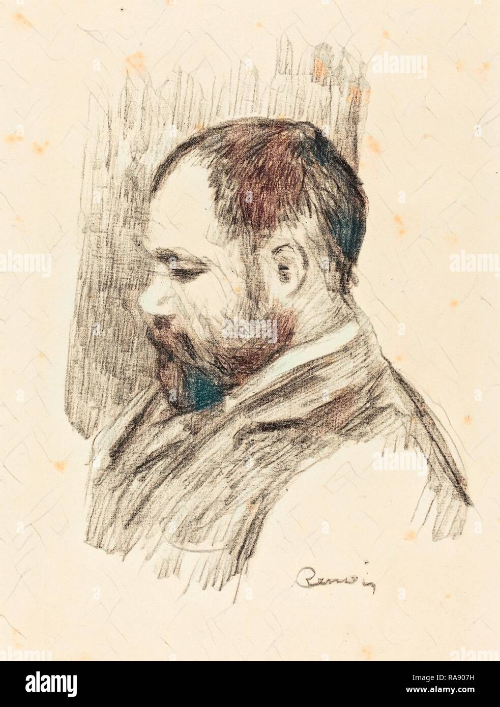Auguste Renoir, Ambroise Vollard, French, 1841 - 1919, 1904, lithograph. Reimagined by Gibon. Classic art with a reimagined - Stock Image
