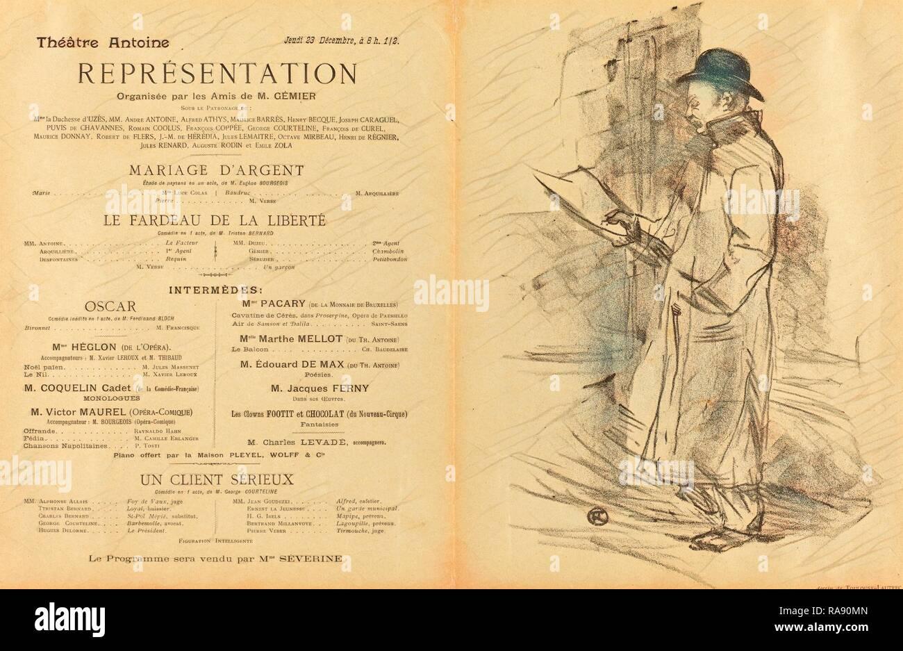 Henri de Toulouse-Lautrec (French, 1864 - 1901), Mariage d'argent, Le Fardeau de la liberté, Un Client sérieux [recto reimagined - Stock Image