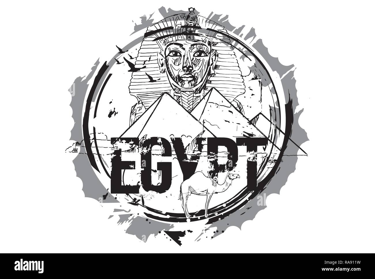 Egypt, Giza, Tutankhamun Egyptian Pharaoh king mask And The Pyramid Of Khafre With Camel - Stock Vector