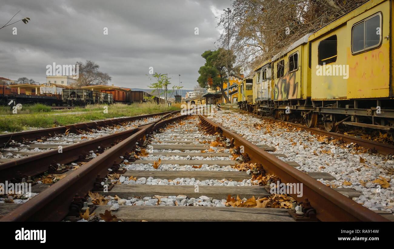 Abandoned train station - Stock Image