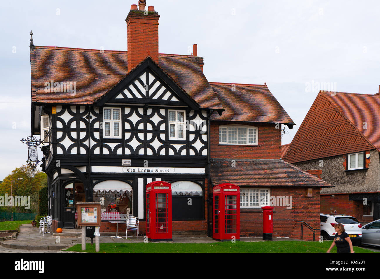 Tea rooms, in Port Sunlight Village, on the Wirral. Image taken in October 2018. - Stock Image