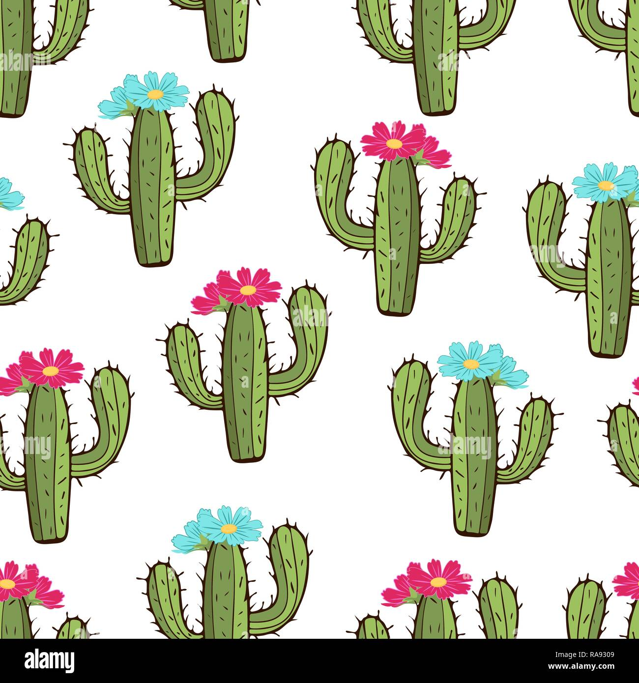Blooming cactus seamless pattern hand drawing vector illustration painted green peyote with spikes and pink and blue flower buds on white backgroun