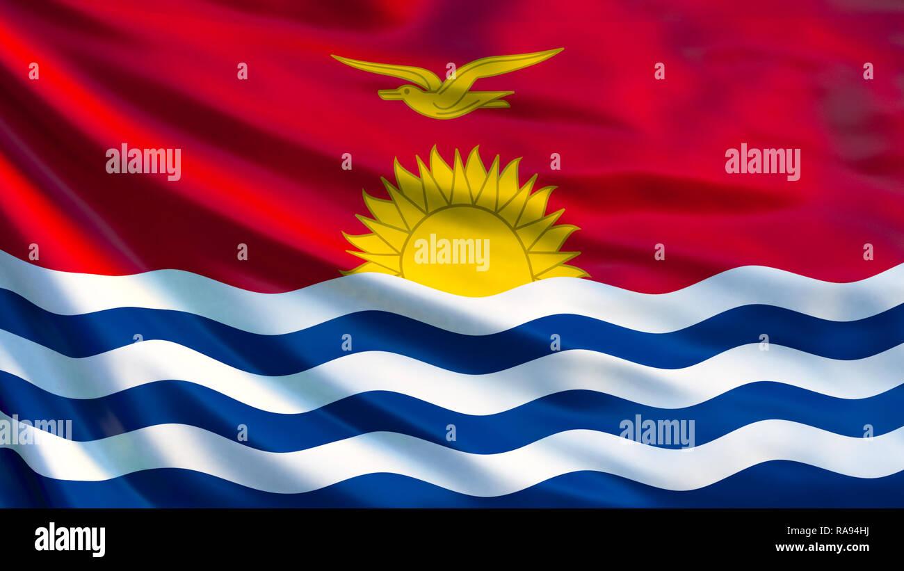Kiribati flag. Waving flag of Kiribati 3d illustration. Tarawa - Stock Image