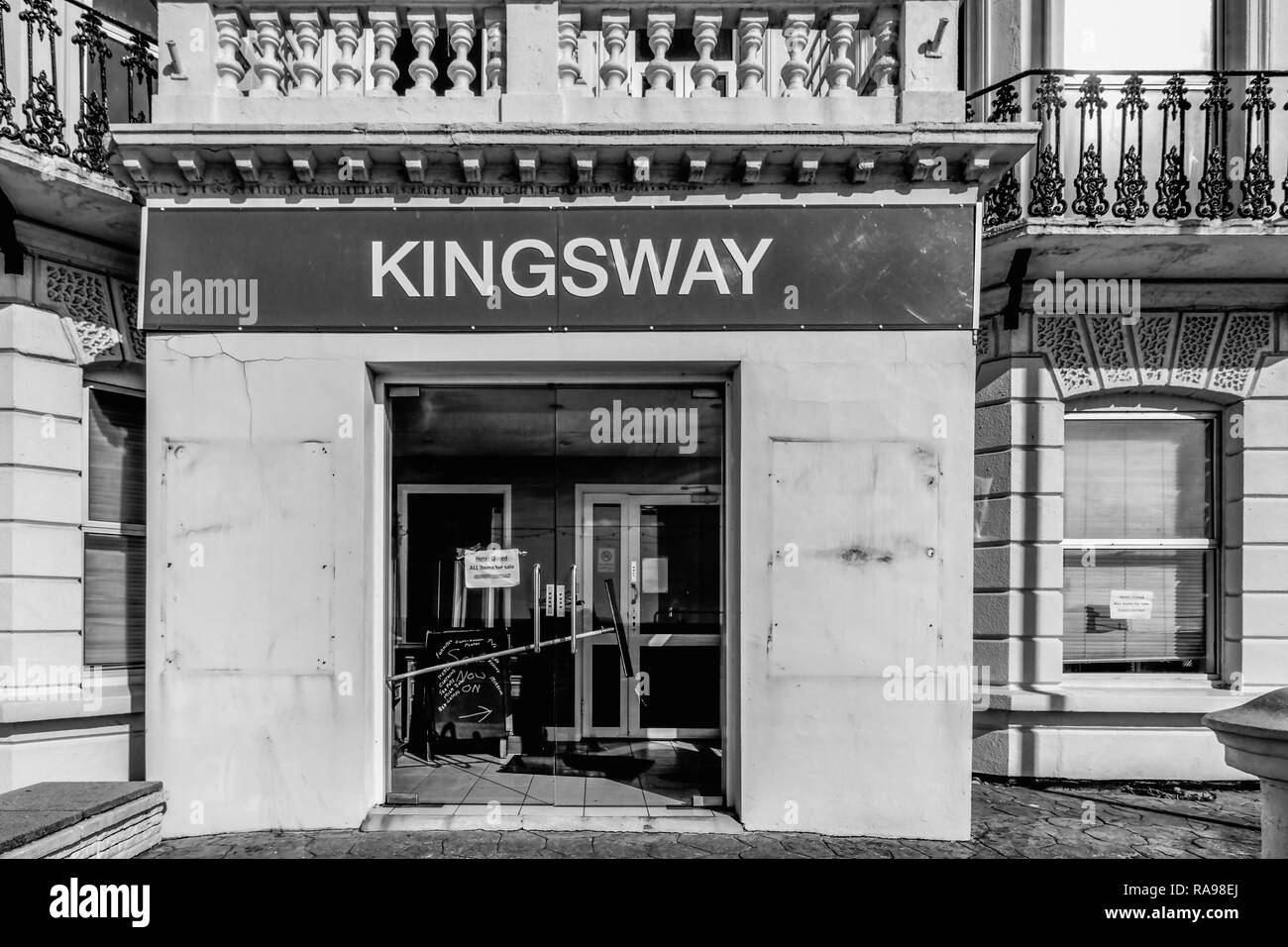 The now demolished Kingsway Hotel, just after it closed to the public in Worthing - Stock Image