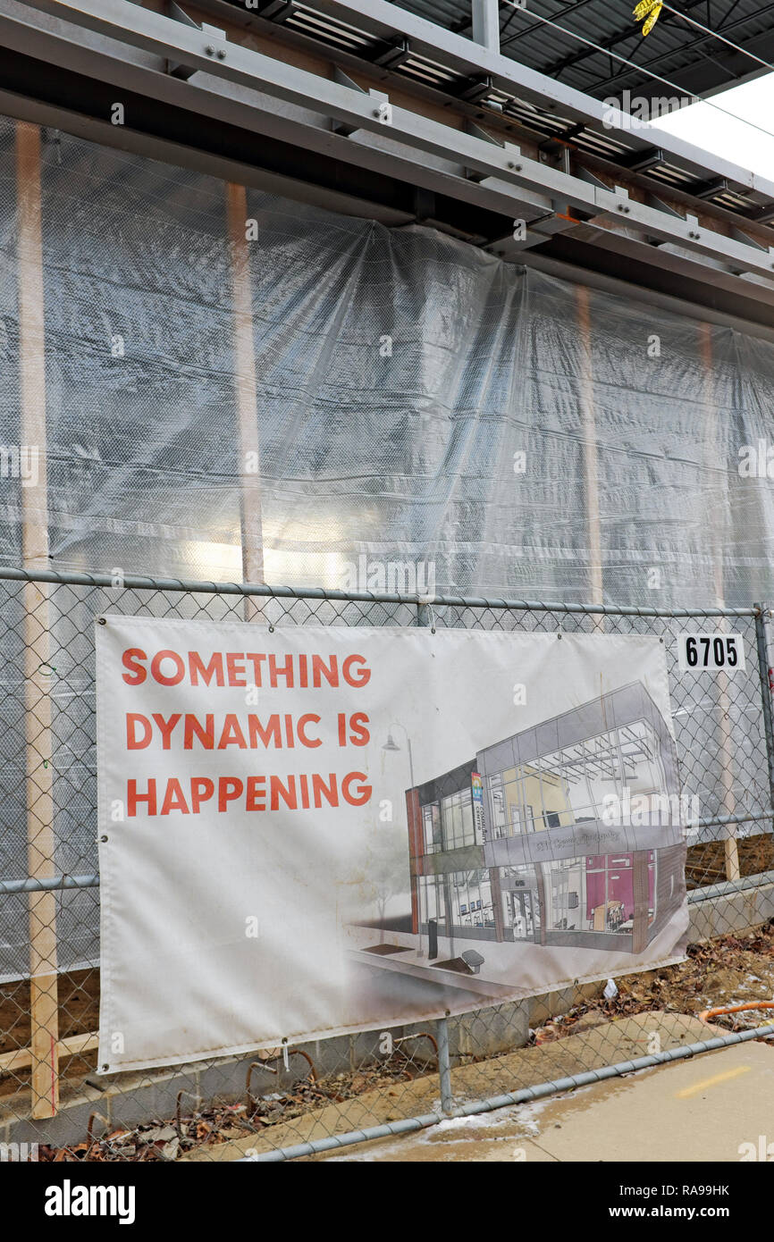 The new LGBTQ Community Center on Detroit Road in the Gordon Square neighborhood of Cleveland, Ohio, USA under construction. - Stock Image