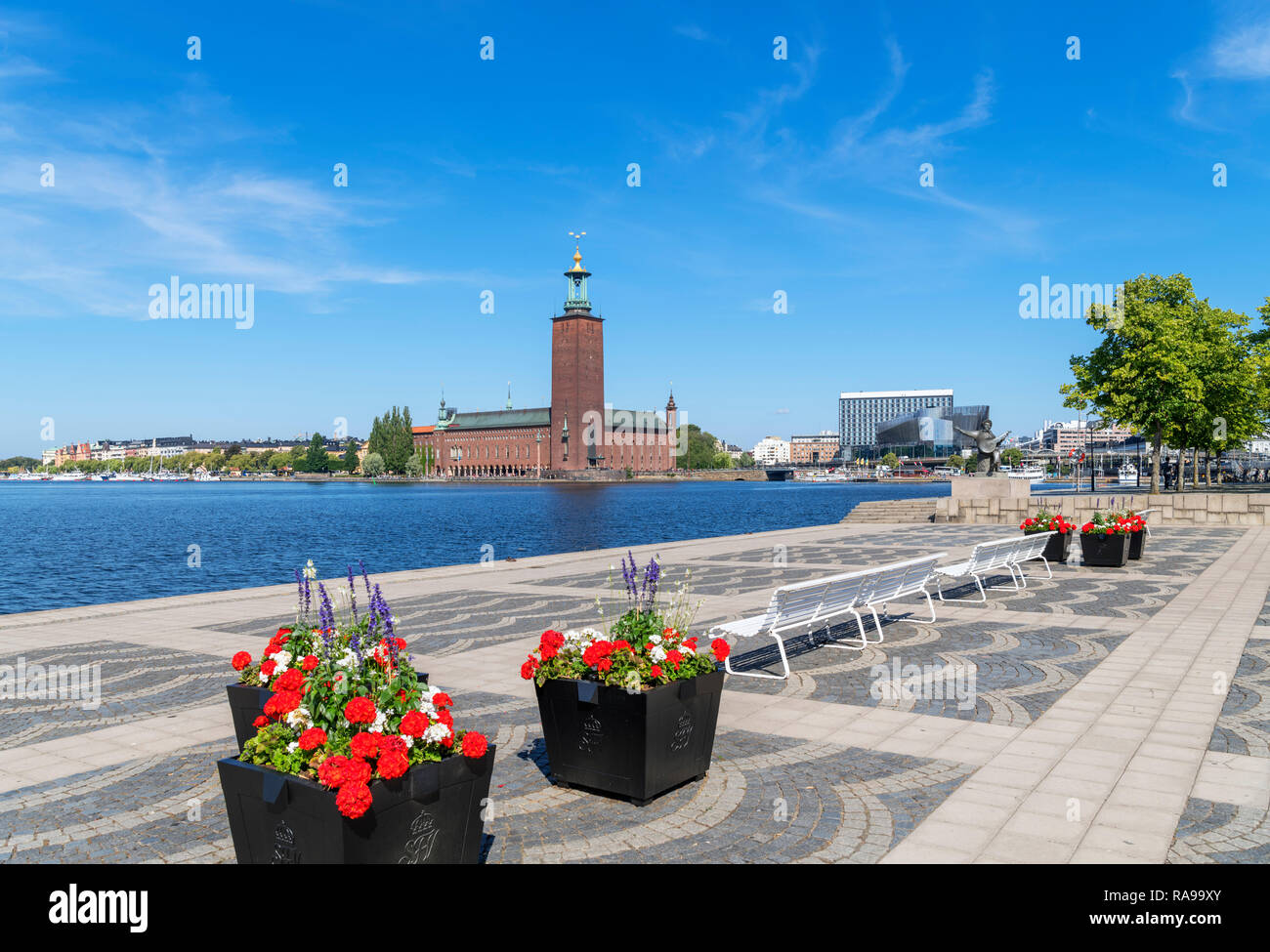 Stockholm City Hall (Stadshuset) on Kungsholmen from Riddarholmen, Stockholm, Sweden - Stock Image
