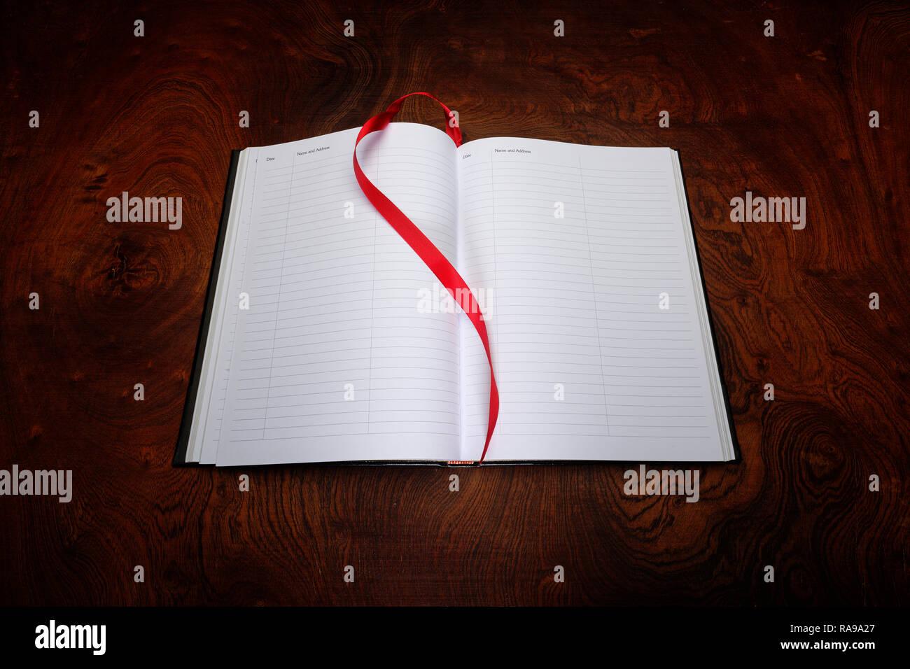 Guest register or ledger - Stock Image