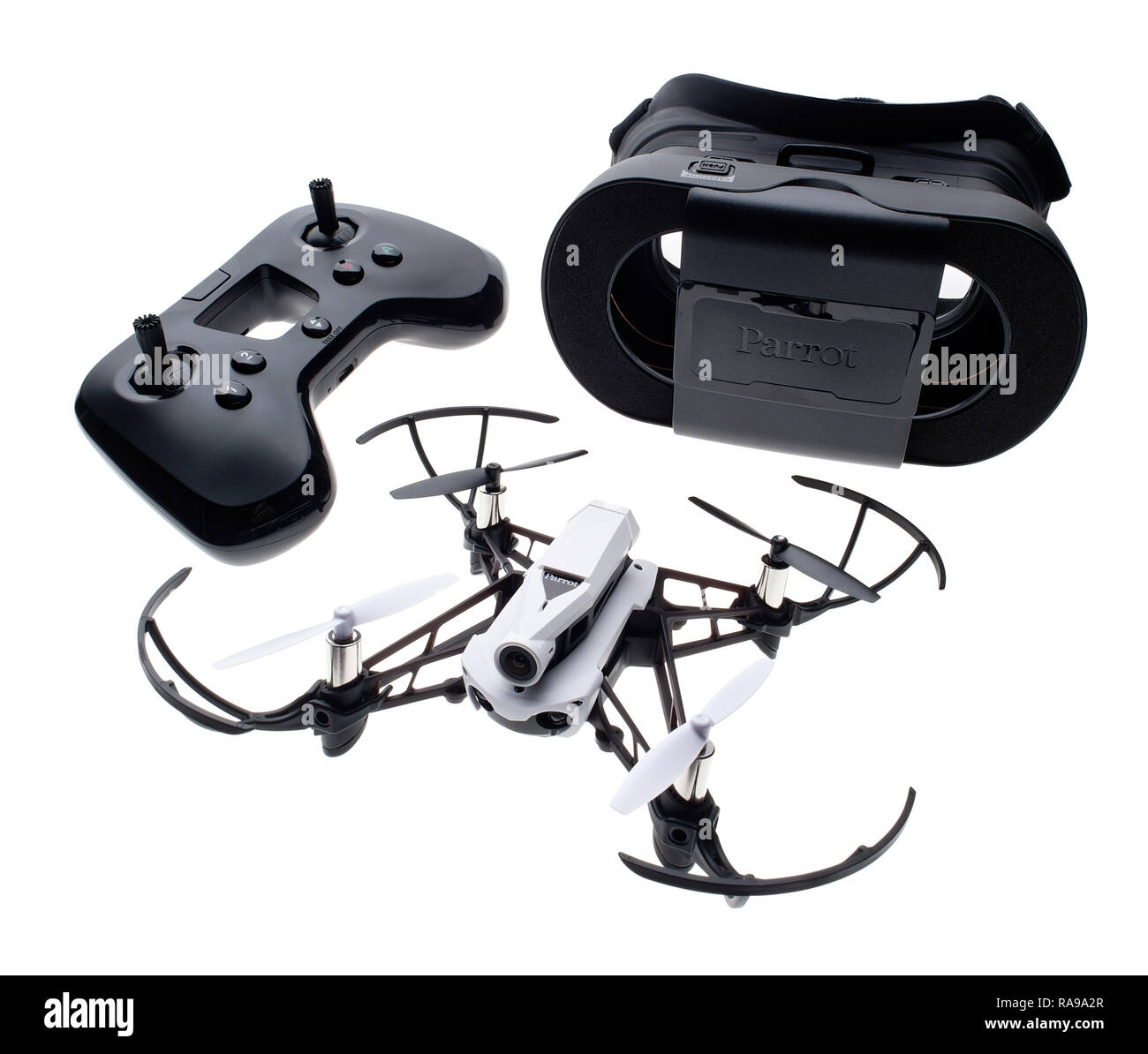 Parrot Mambo FPV drone with viewer and controller. - Stock Image