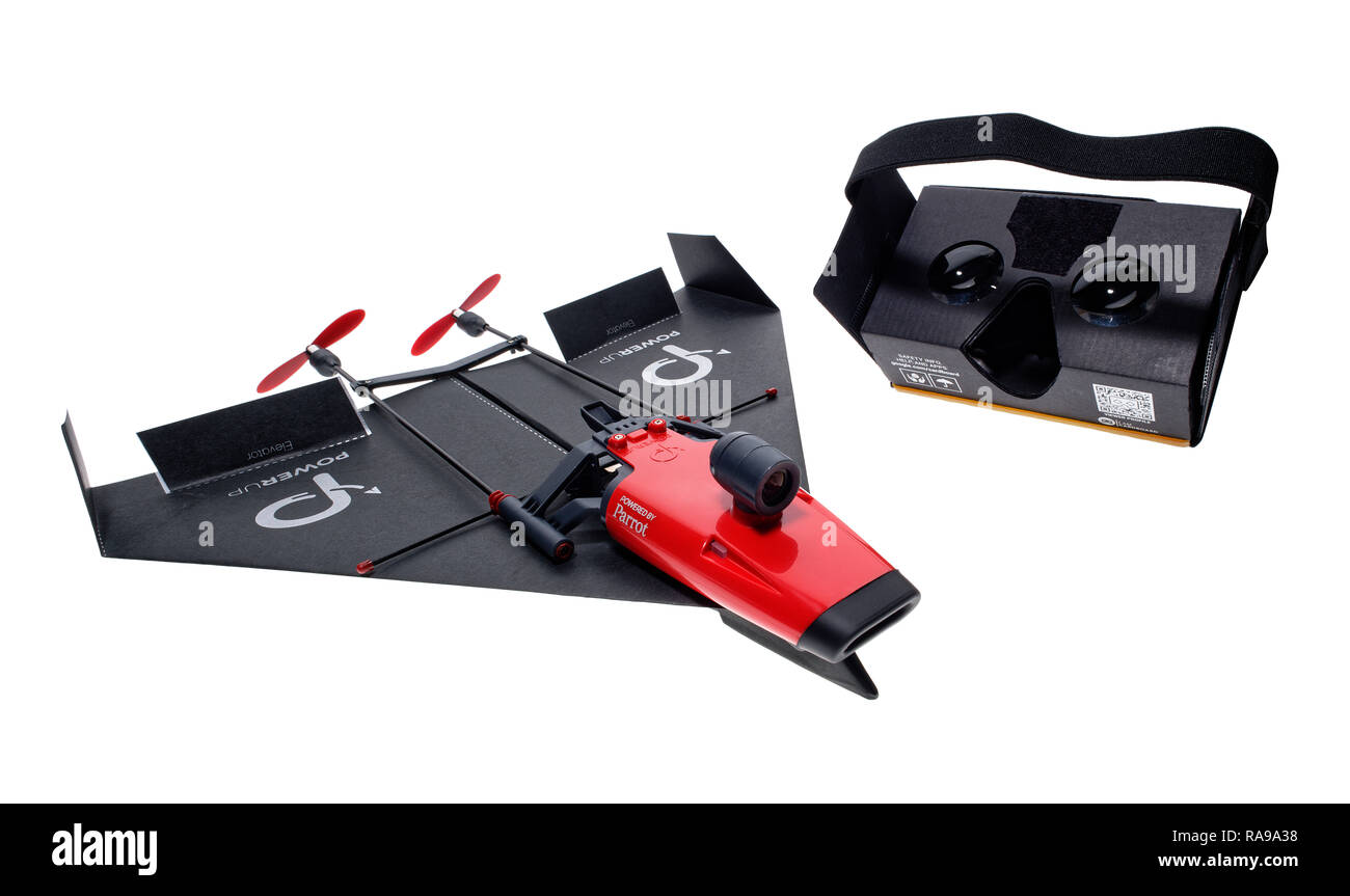 PowerUp FPV smartphone controlled drone. With cardboard viewer to control by headmovements. - Stock Image