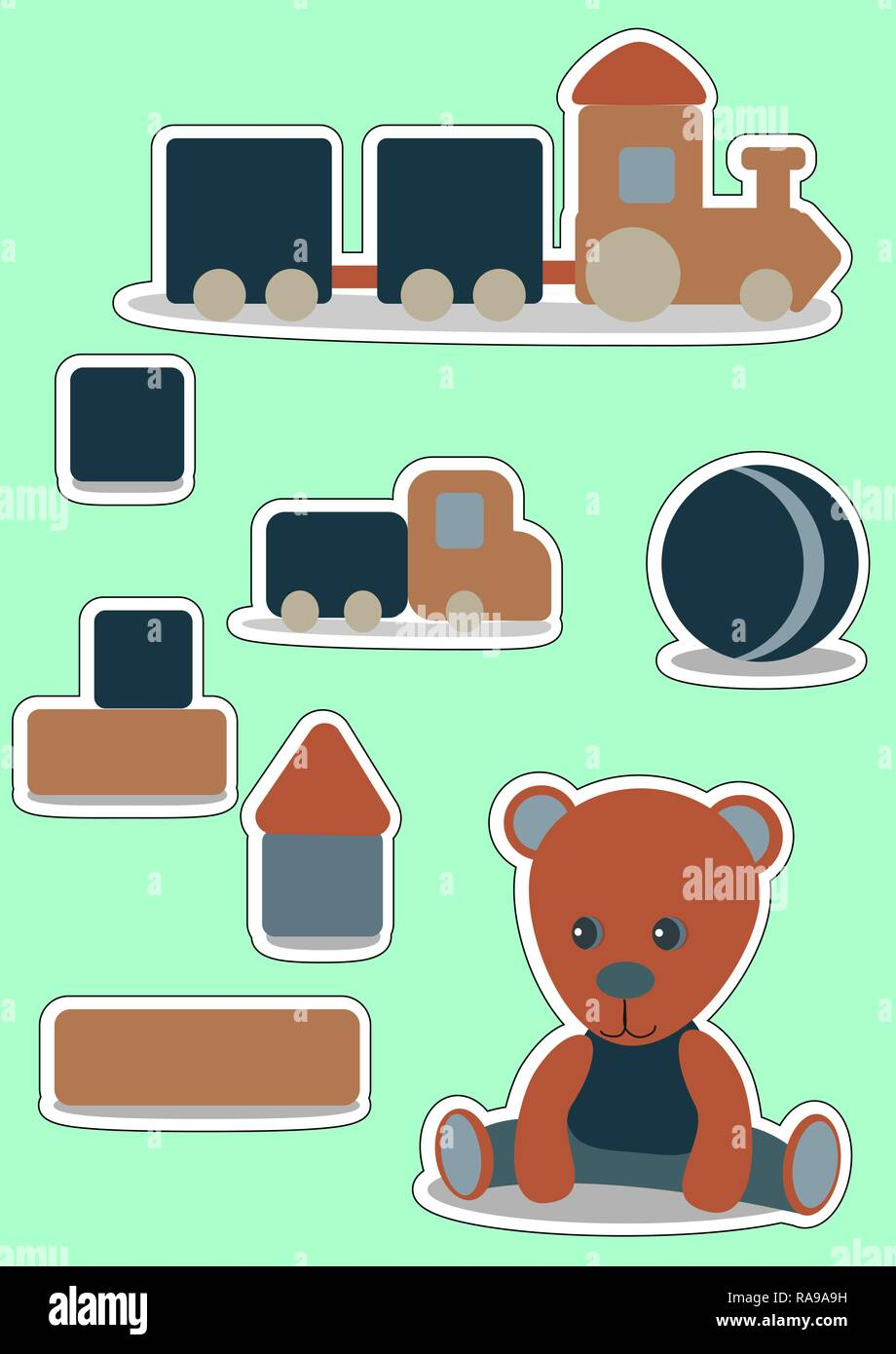 Teddy Bear Set sticker for boy. Wooden toys. Vector illustration for label, price tag, banner, scrap note - Stock Vector