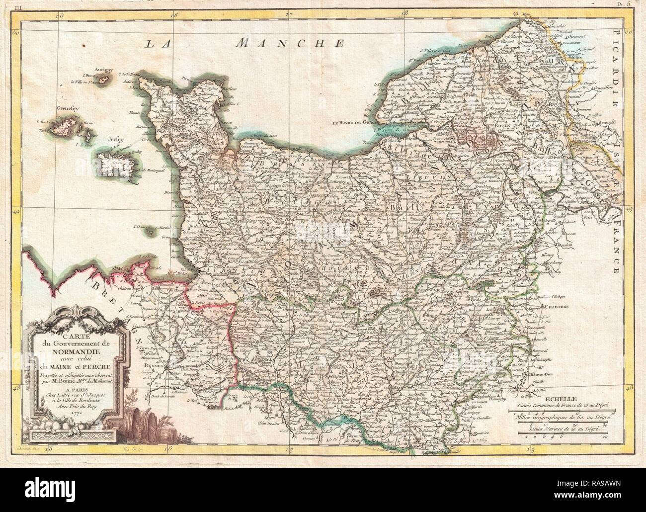 1771, Bonne Map of Normandy, France, Rigobert Bonne 1727 – 1794, one of the most important cartographers of the late reimagined - Stock Image