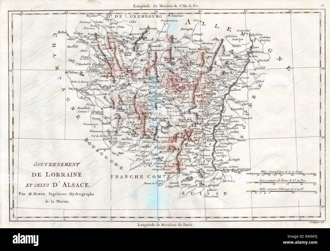 1780 Bonne Map Of Alsace And Lorainne France Rigobert Bonne 1727
