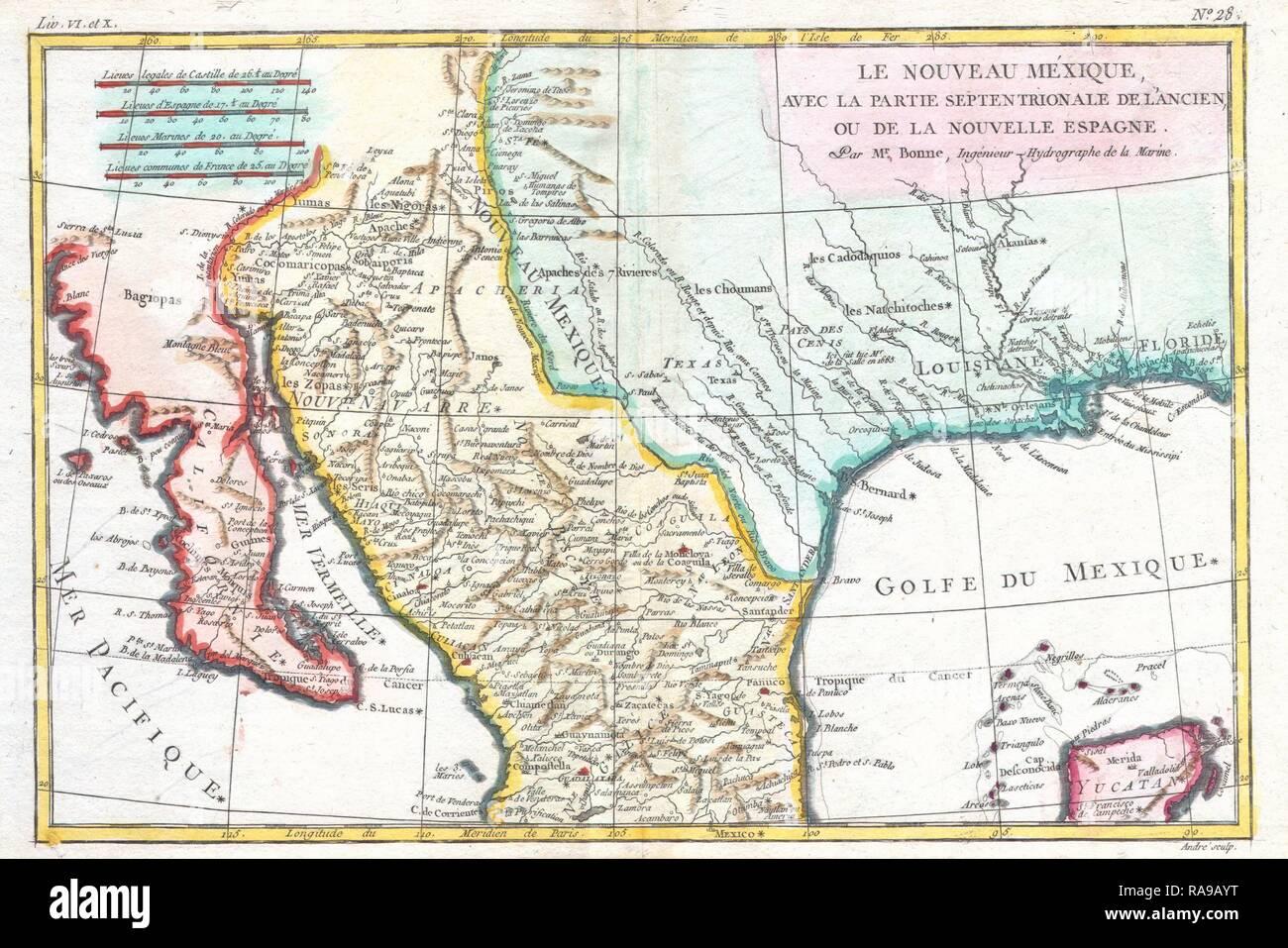1780 Bonne Map Of Texas Louisiana And New Mexico Rigobert Bonne