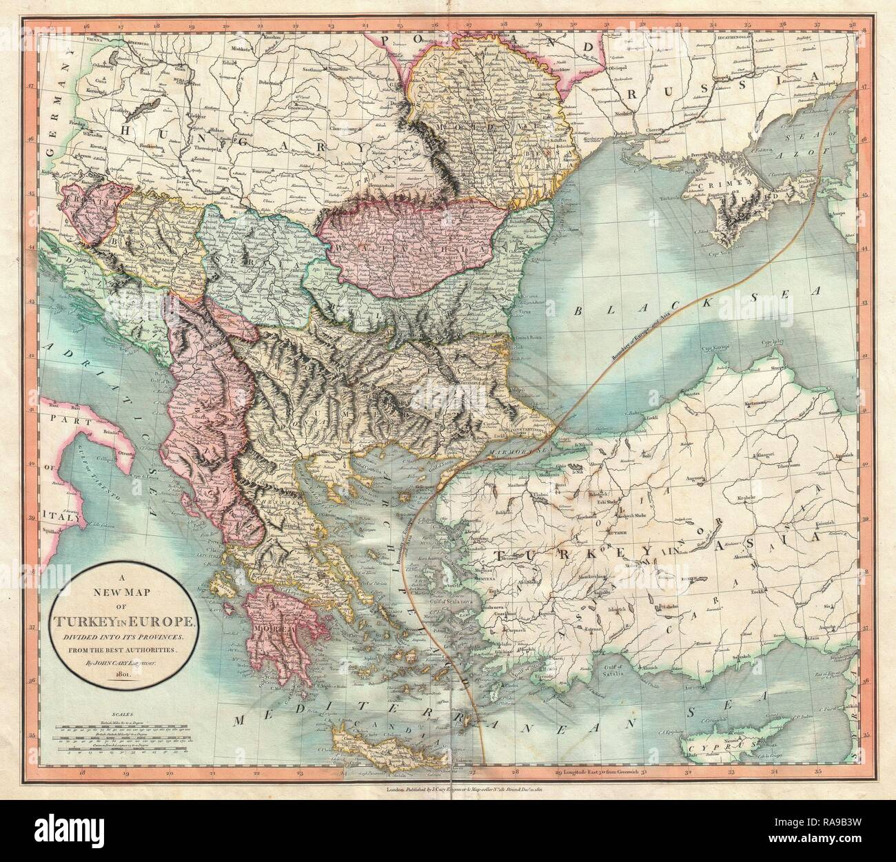 1801 Cary Map Of Turkey In Europe Greece And The Balkan