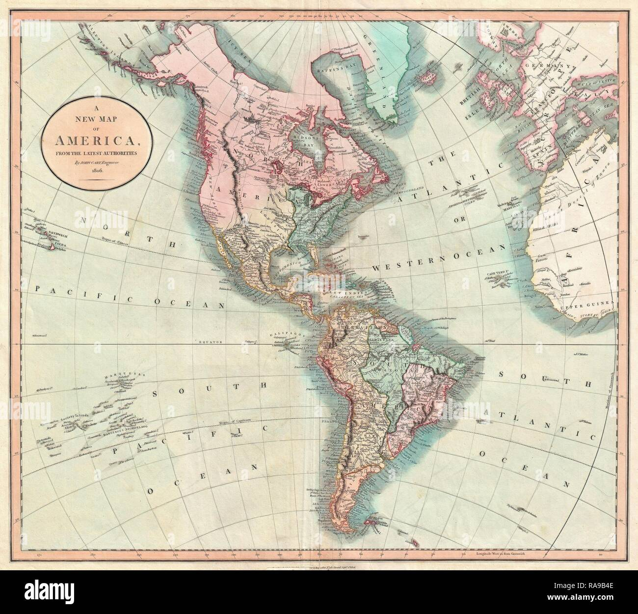 1806 Cary Map Of The Western Hemisphere North America And South