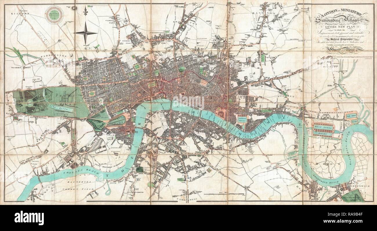 1806, Mogg Pocket or Case Map of London, England. Reimagined by Gibon. Classic art with a modern twist reimagined - Stock Image
