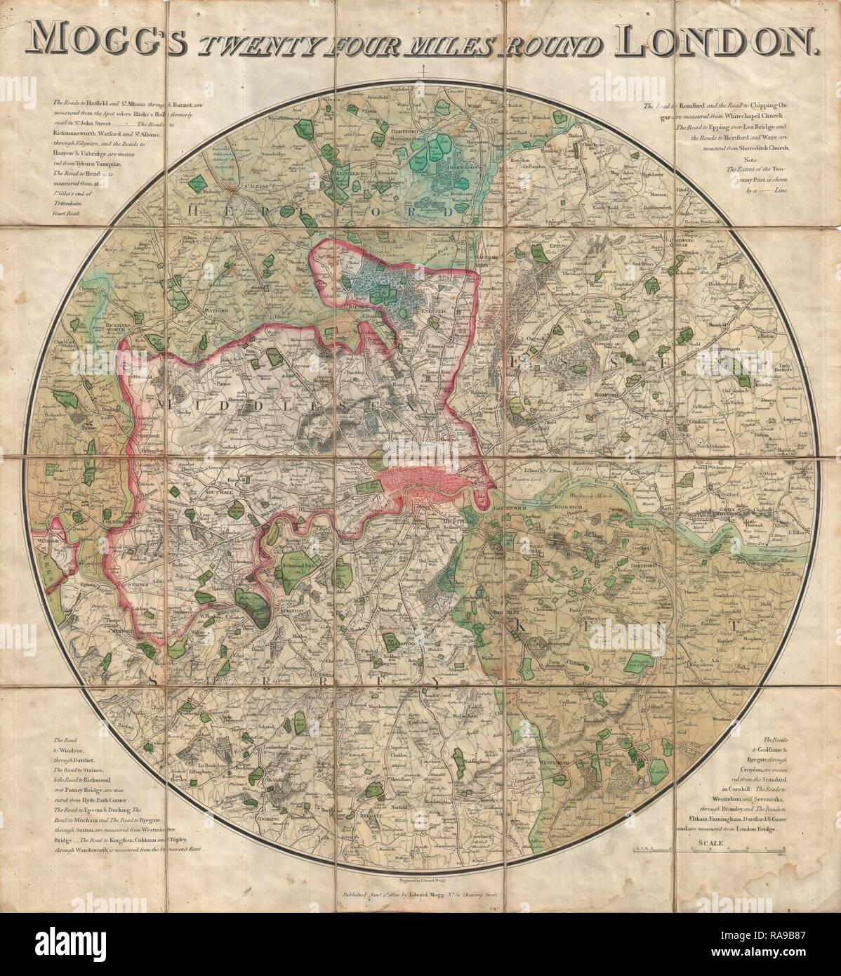 1820, Mogg Pocket or Case Map of London, England, 24 Miles around. Reimagined by Gibon. Classic art with a modern reimagined - Stock Image