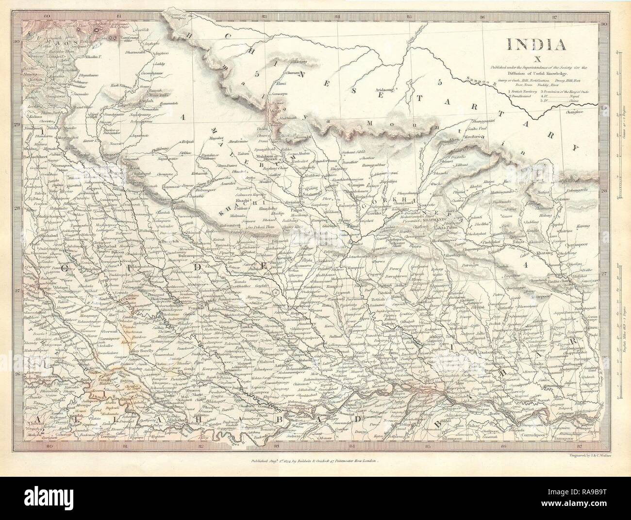 1834, S.D.U.K. Map of North India, Nepal, and Allahabad. Reimagined by Gibon. Classic art with a modern twist reimagined - Stock Image