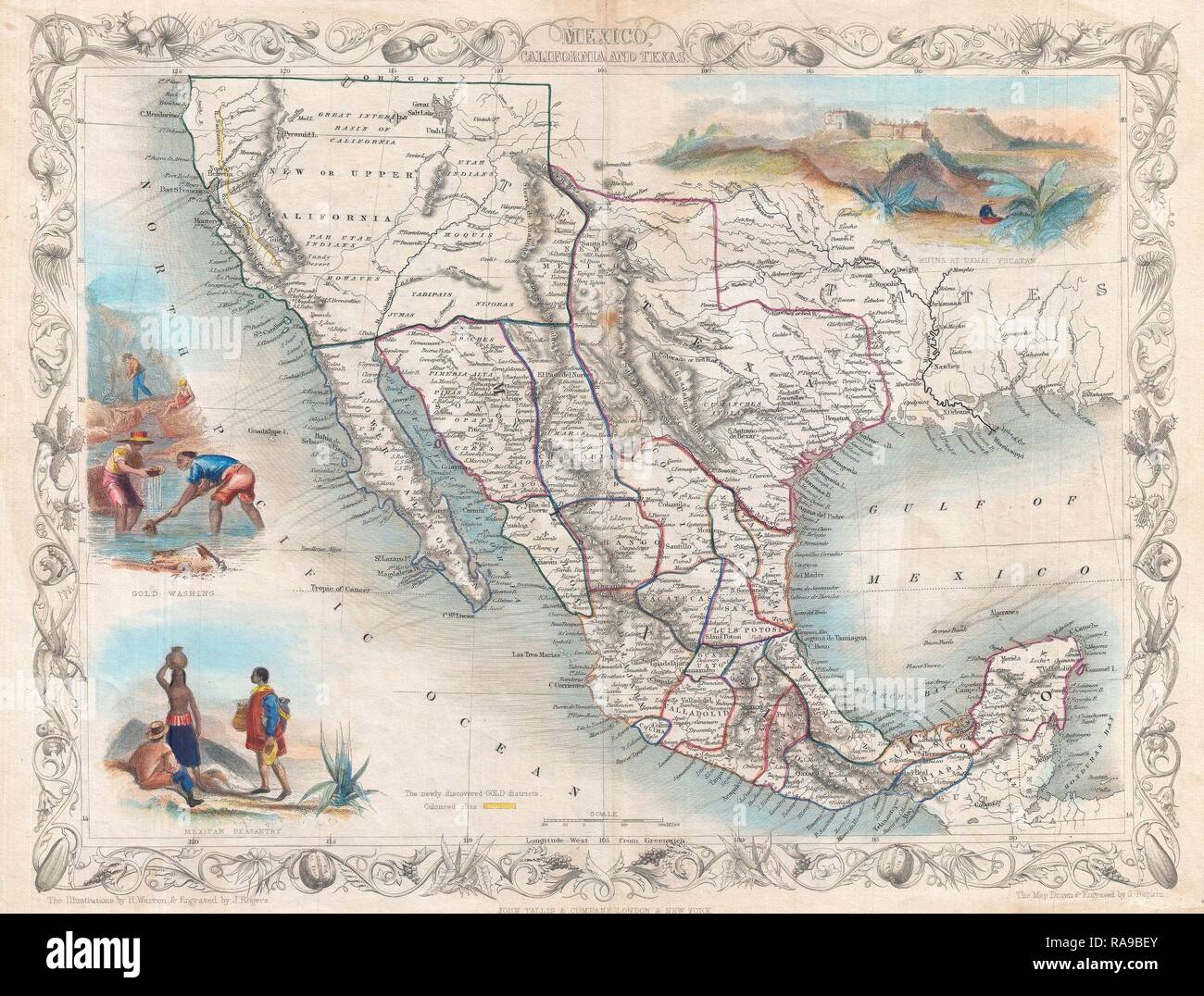 1851, Tallis Map of Mexico, Texas, and California. Reimagined by Gibon. Classic art with a modern twist reimagined - Stock Image