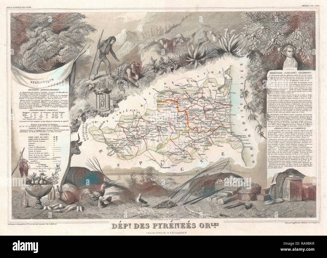Pyrenees-orientales 1878 Old Antique Map Plan Chart PyrÉnÉes-orientales Art Prints Maps, Atlases & Globes