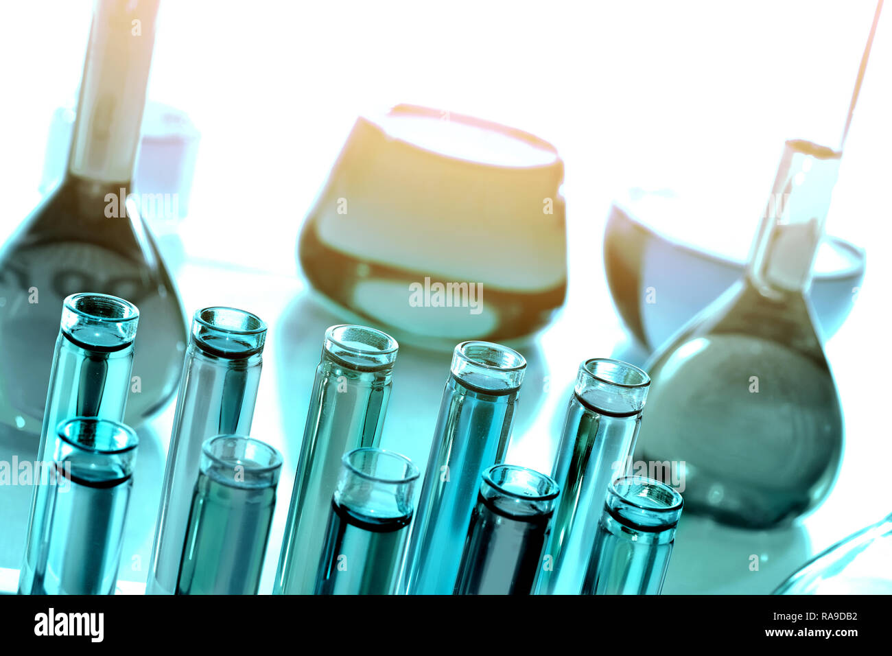 Laboratoy glassware with chemicals and reagents, chemistry science - Stock Image