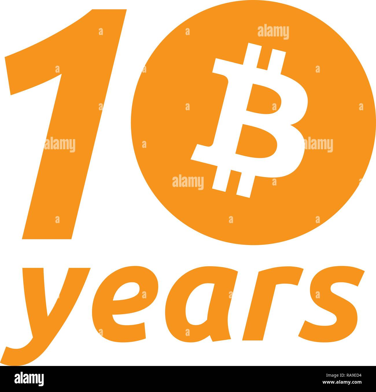 Bitcoin 10th Anniversary of the Genesis Block - Stock Vector