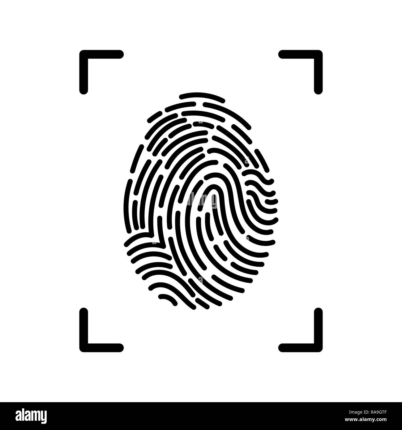 Editable Vector line Fingerprint Scan Icon - fingerprint identification symbol - Stock Image