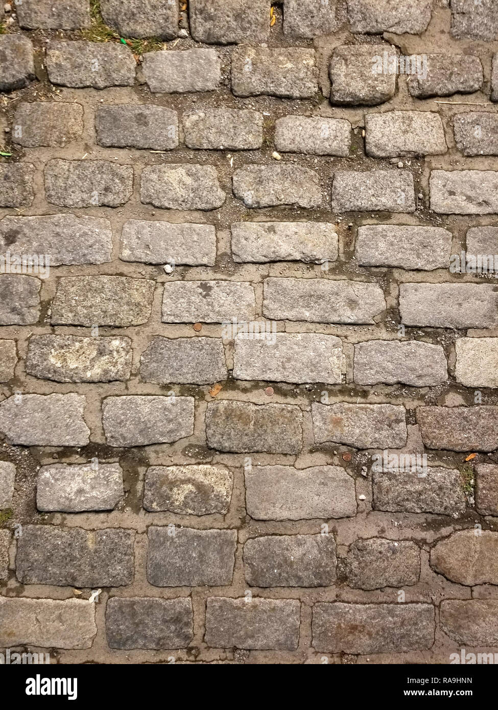 old brick textured background with dirt. drak gray colors Stock Photo