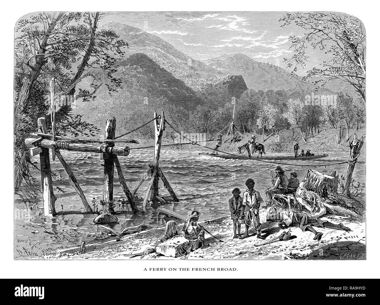 Ferry Crossing the French Broad River, North Carolina, United States, American Victorian Engraving, 1872 - Stock Image