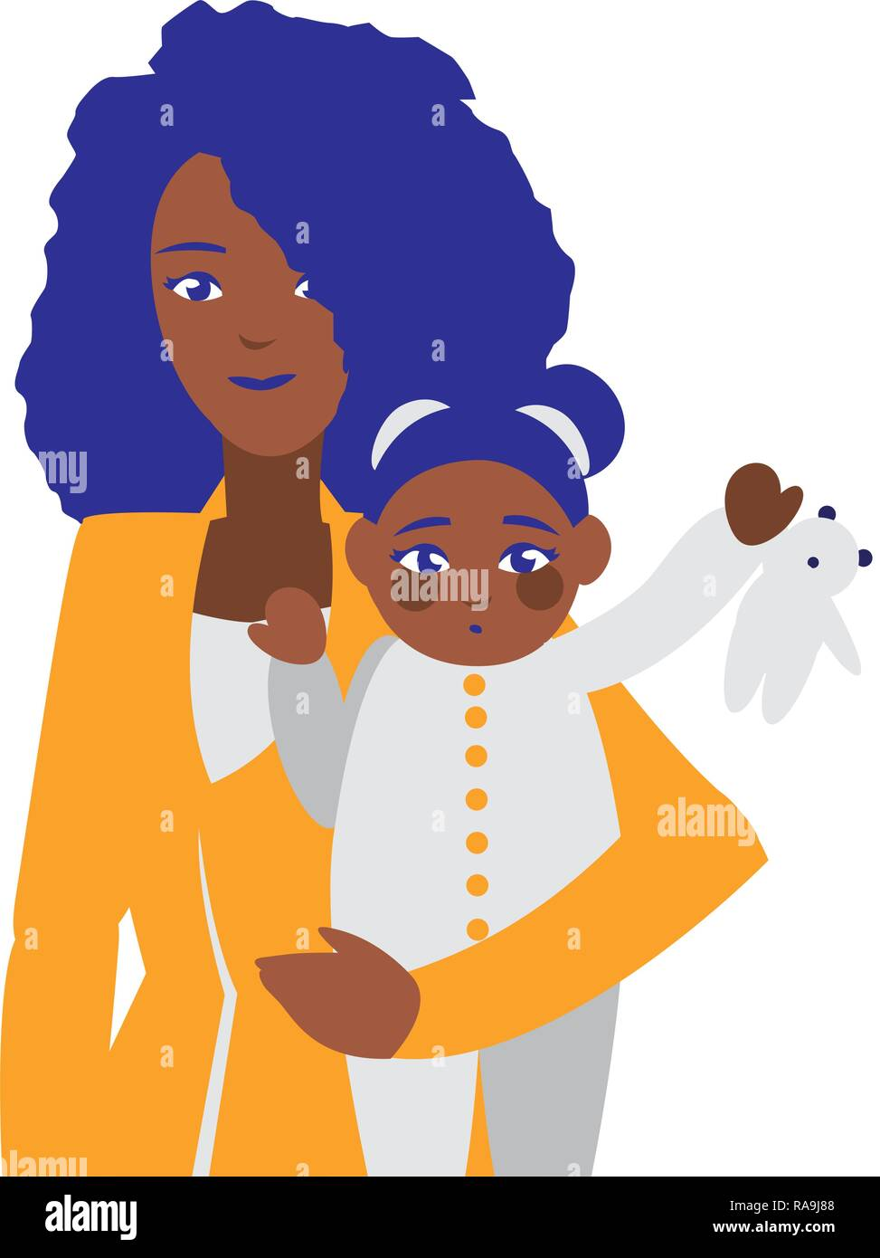 Black Mother With Baby Daughter Characters Vector Illustration Design Stock Vector Image Art Alamy