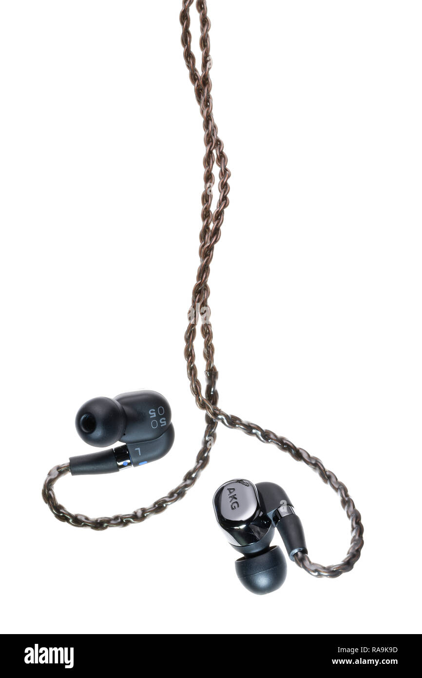 AKG reference class driver earphones. - Stock Image