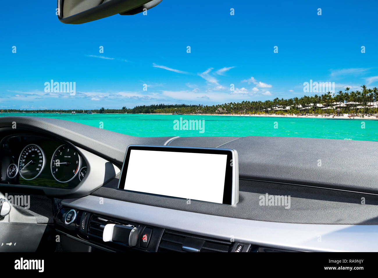 White Screen system display for GPS Navigation and Multimedia as automotive technology in car. white copy space of touch screen. Modern car dashboard  - Stock Image