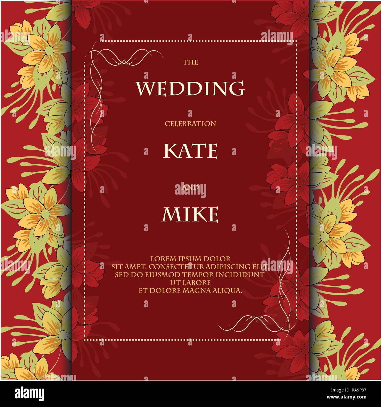Wedding Invitation Card Template With Flower Floral