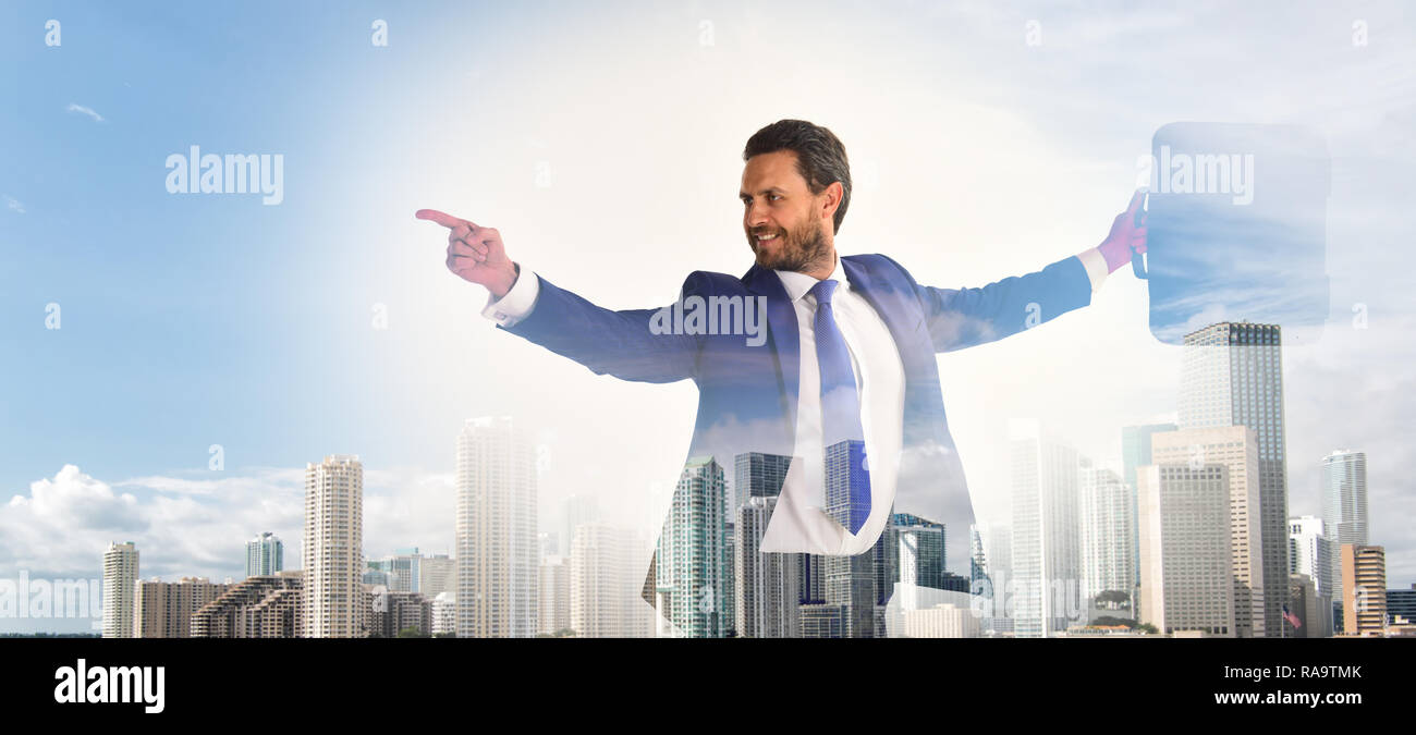 Businessman financial manager interact digital surface. Businessman with briefcase business center background. Financial statistics digital technology. Digital business concept. Touch digital surface. - Stock Image