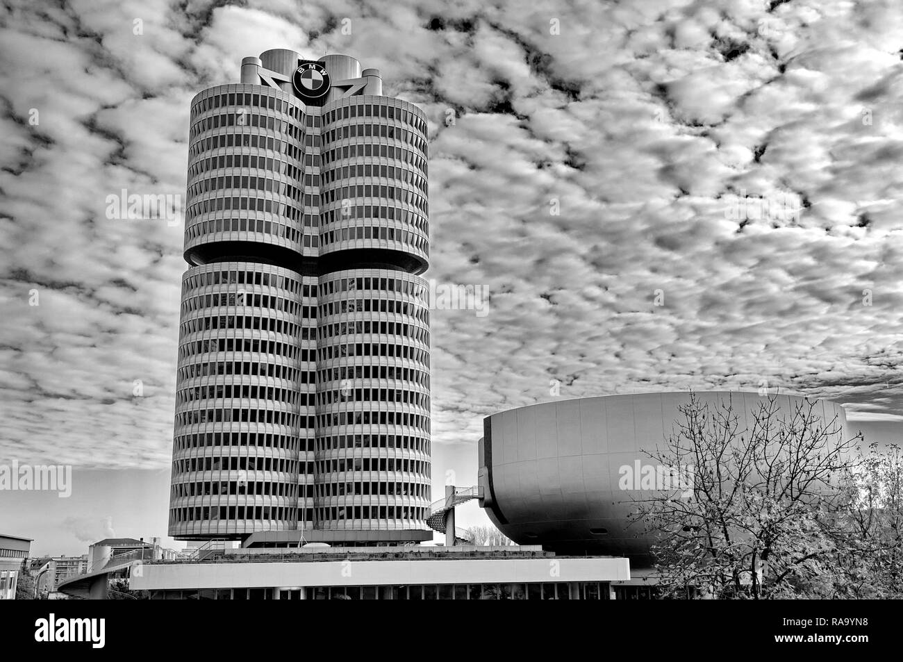 MUNICH - GERMANYOCTOBER 31: BMW building museum on June 31, 2014, Munich, Germany. The BMW Museum is located near the Olympiapark in Munich and was es - Stock Image