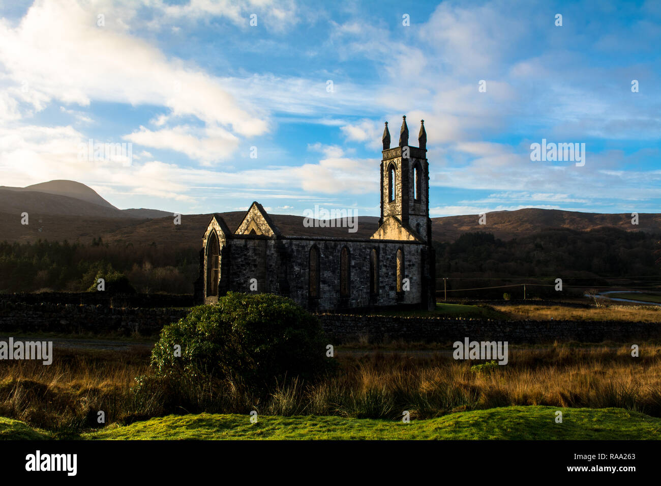 Ruined Church of Ireland in The Poisoned Glen Dunlewey Gweedore Donegal Ireland Europe - Stock Image