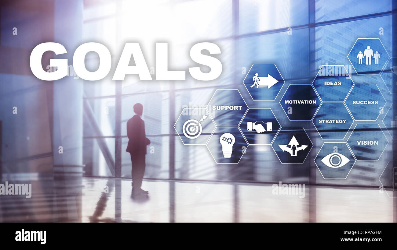 Target Goals Expectations Achievement Graphic Concept. Business development to success and growing growth - Stock Image