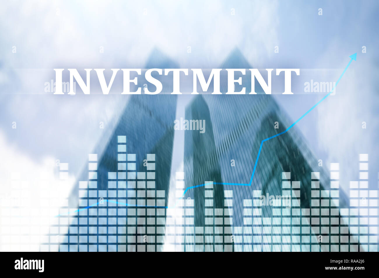 Investment, ROI, financial market concept. City concept. - Stock Image